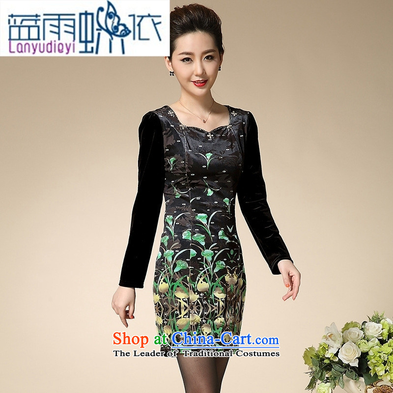 Ya-ting in autumn 2015, the elderly shop women wear long-sleeved winter clothing skirt middle-aged Kim scouring pads for larger mother boxed autumn replacing green?M