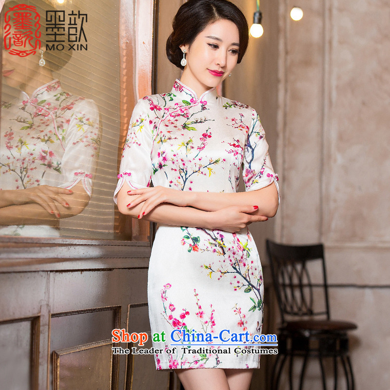 The Mui 2015 looks forward 歆 heavyweight silk cheongsam dress autumn replacing Ms. new qipao China wind women improved cheongsam dress HY652A picture color XXL