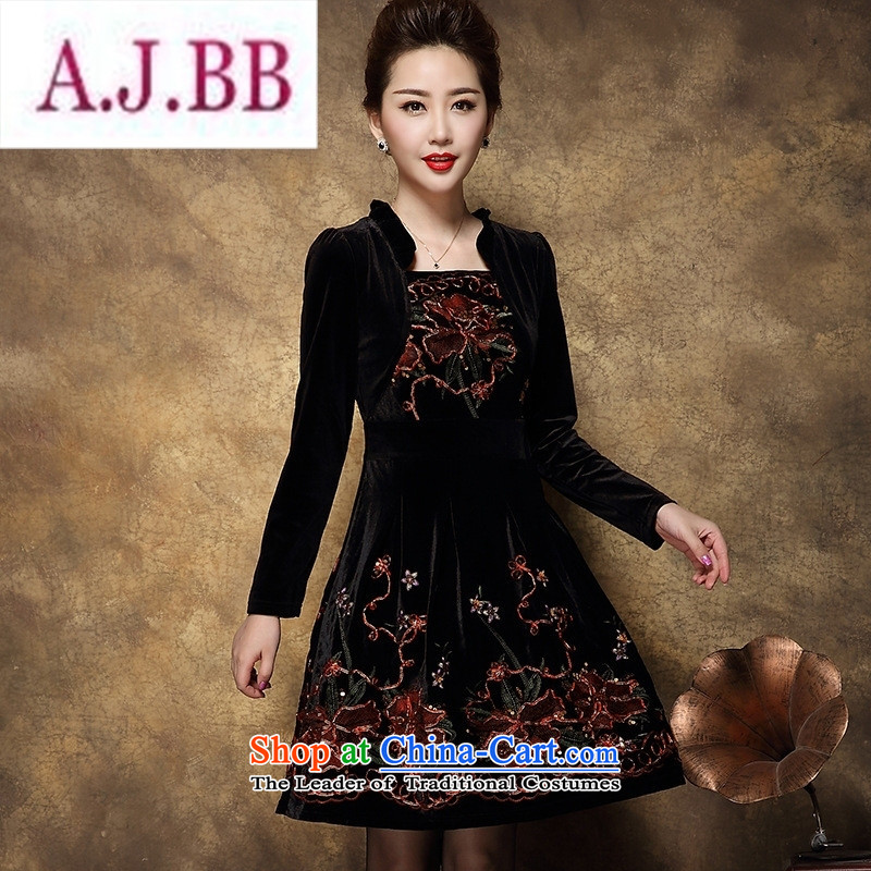 Ms Rebecca Pun and fashion boutiques in older women's 2015 Autumn load new Korean temperament large long-sleeved mother   replacing dresses female black 2XL
