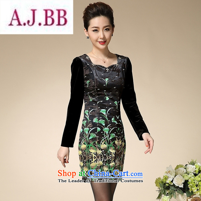 Ms Rebecca Pun stylish shops in the autumn of 2015, the Women's Long Sleeve, forming the basis for winter skirt middle-aged Kim scouring pads for larger mother boxed autumn replacing XXXL green