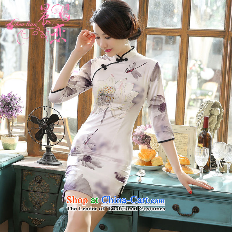 Land 2015 autumn morning cheongsam with retro short, long-sleeved improved stylish herbs extract silk CHINESE CHEONGSAM I should be grateful if you would have the Light Gray L Chu