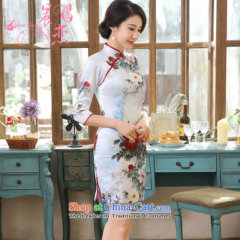 Morning new qipao land 2015 fall short of a long-sleeved retro fitted improved stylish herbs extract Silk Cheongsam Mudan 155_S Light Gray