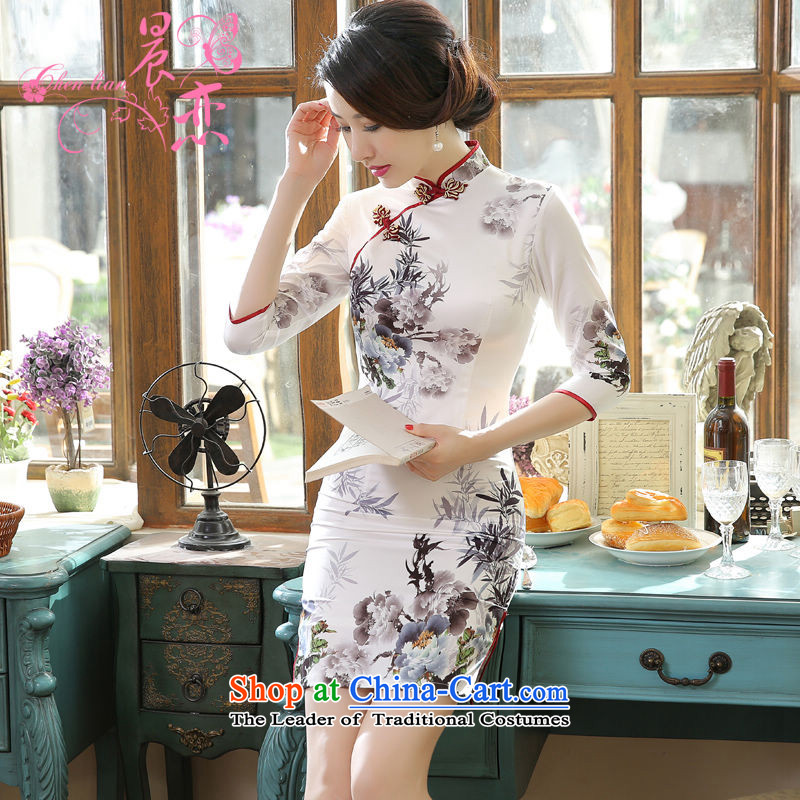 Morning new qipao land long-sleeved short of 2015 retro improved stylish herbs extract silk CHINESE CHEONGSAM Water Light Gray Ink M