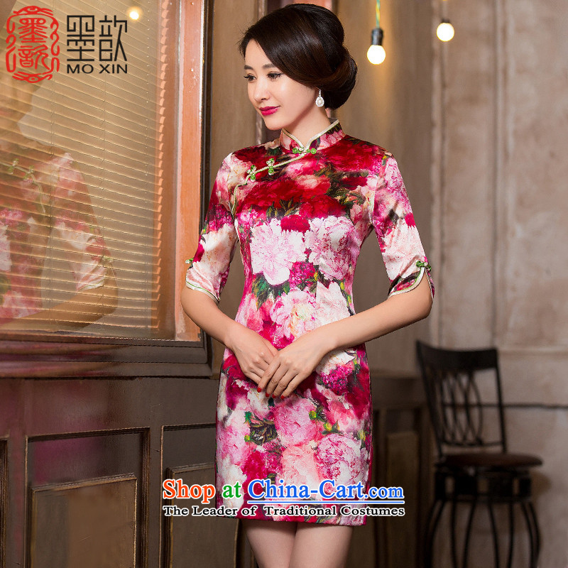 If MHI ? ink silk cheongsam dress lb sauna silk cheongsam dress new improvements in the autumn of qipao sleeved blouses�HY6051A China wind�red�L