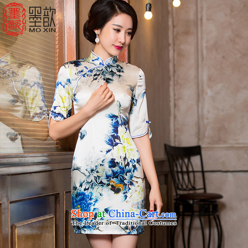 The Hon Audrey Eu Yuet-white heavy � Silk Cheongsam with sauna Silk Cheongsam autumn skirt the new double retro improved cheongsam dress in female?HY6085 Cuff?Color Picture?S