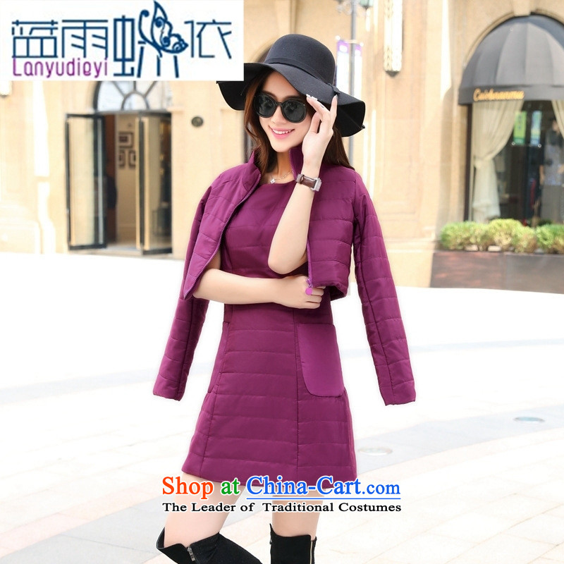 Ya-ting shop 2015 winter clothing Korean Female dress with two kits BHCNL8655 GRAY燲XL