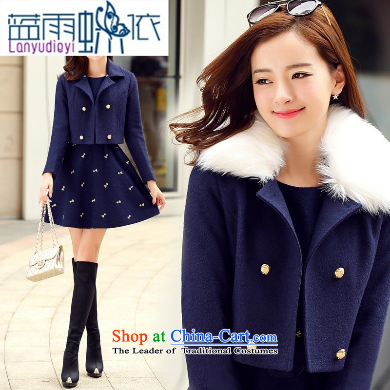 Ya-ting shop 2015 winter clothing Korean women's gross? dress with stylish two kits BYJLY8538 gross blue and green collar燲XL