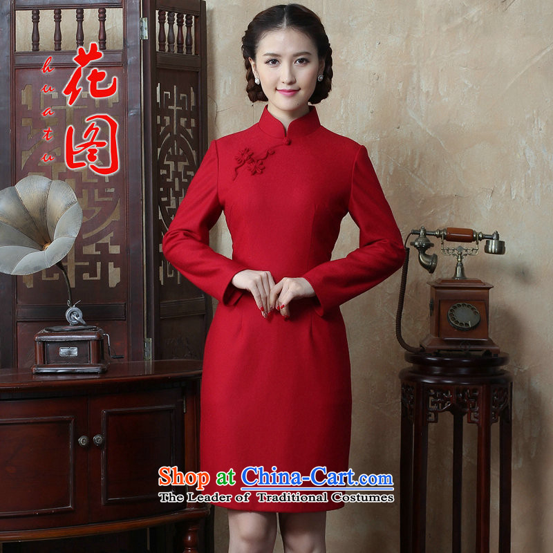 Floral autumn and winter new women's Chinese collar solid color long-sleeved wool qipao improved qipao?   Figure Color dress XL
