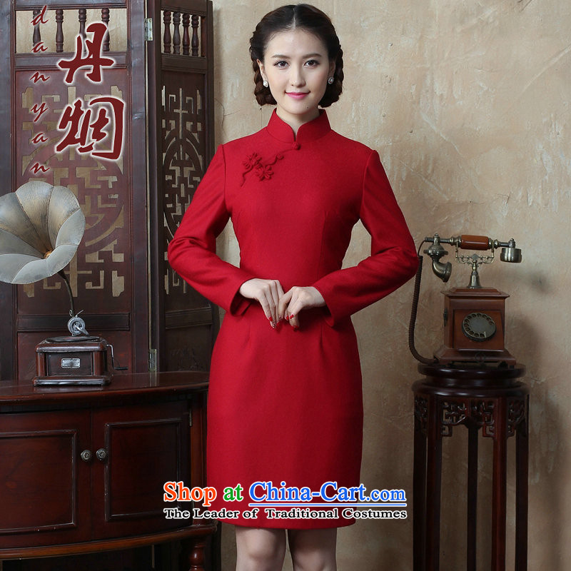 Dan smoke autumn and winter new women's Chinese collar solid color long-sleeved wool qipao improved qipao?   Figure Color燤 dress