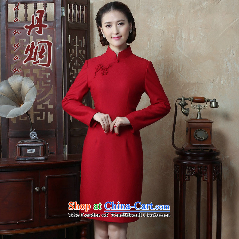 Dan smoke autumn and winter new women's Chinese collar solid color long-sleeved wool qipao improved qipao?   Figure Color聽M, dresses Dan Smoke , , , shopping on the Internet
