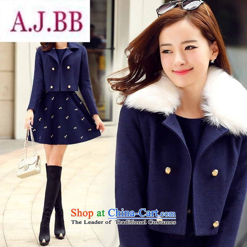 Ms Rebecca Pun stylish shops 2015 winter clothing Korean women's gross? dress with stylish two kits BYJLY8538 gross blue and green collar聽XXL