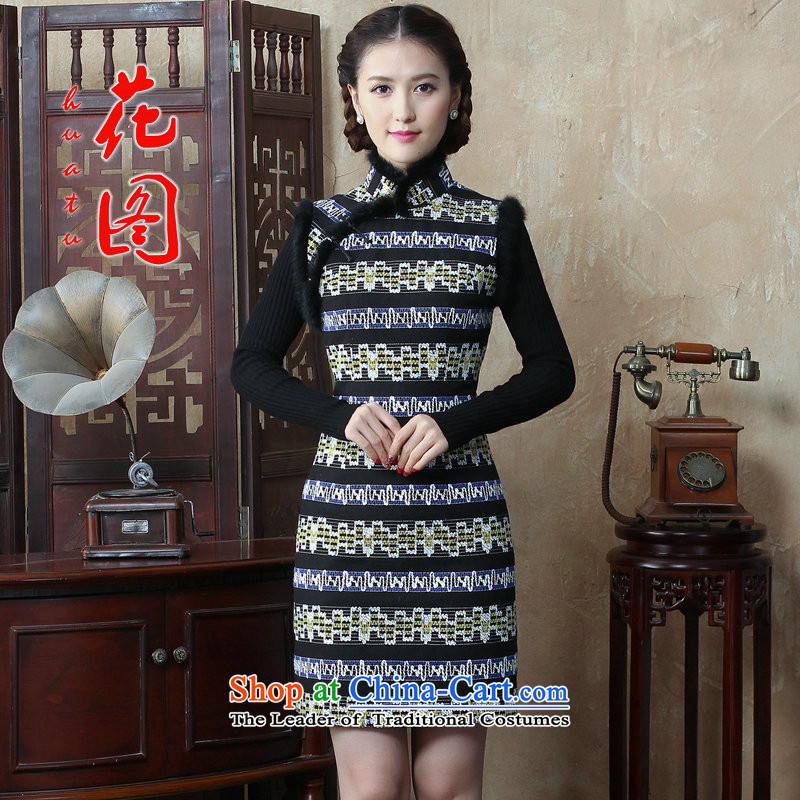 Floral autumn and winter new women's gross for a qipao gown streaks dresses? The cotton wool improved qipao Figure Color Sau San?2XL