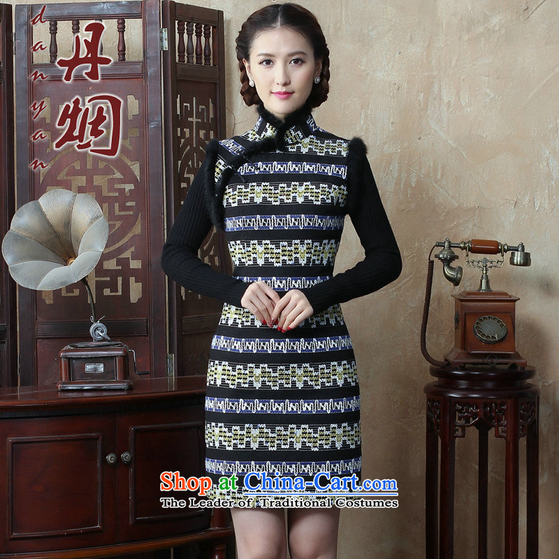 Dan smoke autumn and winter new women's gross for a qipao gown streaks dresses? The cotton wool improved qipao Figure Color Sau San燤