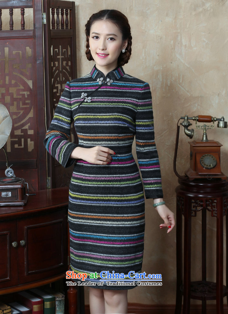 Dan聽2015 autumn and winter smoke female Chinese Disc detained streaks wool? long-sleeved qipao cheongsam dress improved Sau San retro聽3XL color image as shown in figure, prices, brand platters! The elections are supplied in the national character of distribution, so action, buy now enjoy more preferential! As soon as possible.