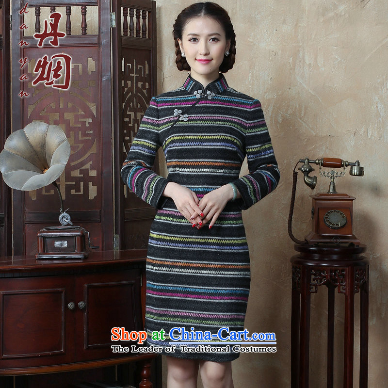 Dan�15 autumn and winter smoke female Chinese Disc detained streaks wool? long-sleeved qipao cheongsam dress improved Sau San retro figure�L color
