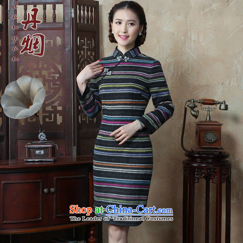 Dan聽2015 autumn and winter smoke female Chinese Disc detained streaks wool? long-sleeved qipao cheongsam dress improved Sau San retro figure聽3XL, color Dan Smoke , , , shopping on the Internet