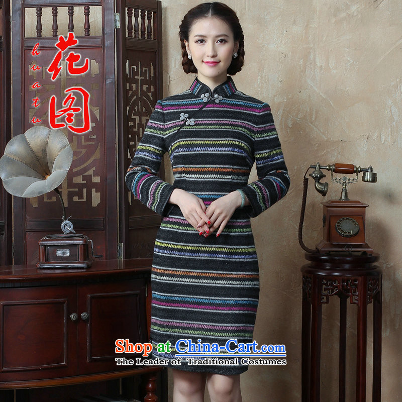 Figure?2015 autumn and winter flower female Chinese Disc detained streaks wool? long-sleeved qipao cheongsam dress improved Sau San retro figure?3XL color