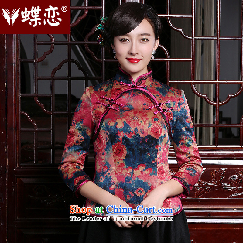 The Butterfly Lovers 2015 autumn and winter of ethnic, Tang blouses improved silk and cotton yarn folder cloud of incense qipao shirt suit燲XL