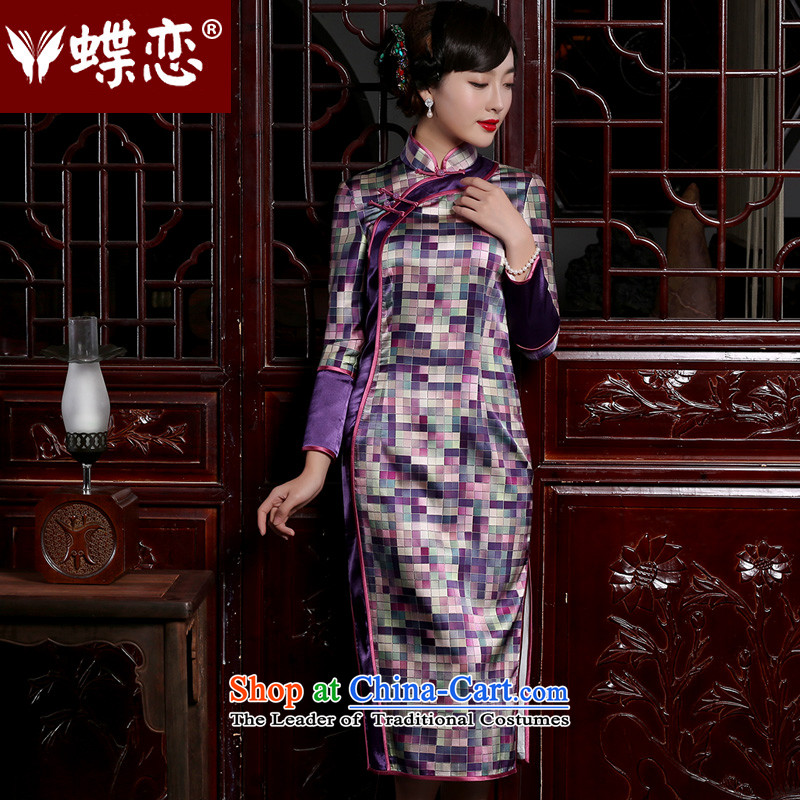 The Butterfly Lovers 2015 autumn and winter new Chinese Antique long-sleeved cheongsam dress improved stylish Silk Cheongsam long latticed聽L