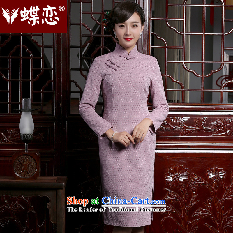 The Butterfly Lovers 2015 autumn and winter new retro long long-sleeved cheongsam dress stylish improved cotton linen dresses Sau San light violet S