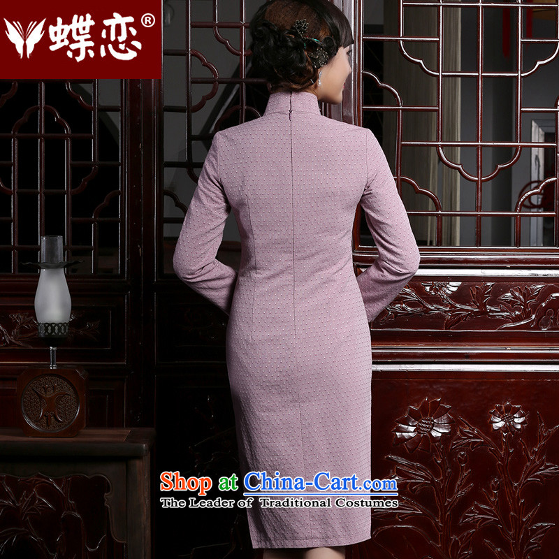 The Butterfly Lovers 2015 autumn and winter new retro long long-sleeved cheongsam dress stylish improved cotton linen dresses聽, light violet Sau San Butterfly Lovers , , , shopping on the Internet