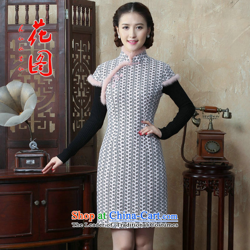 Figure�15 autumn and winter flower women's gross for improved wool? qipao Sau San Chinese collar cotton short skirt qipao folder as shown in figure�L color