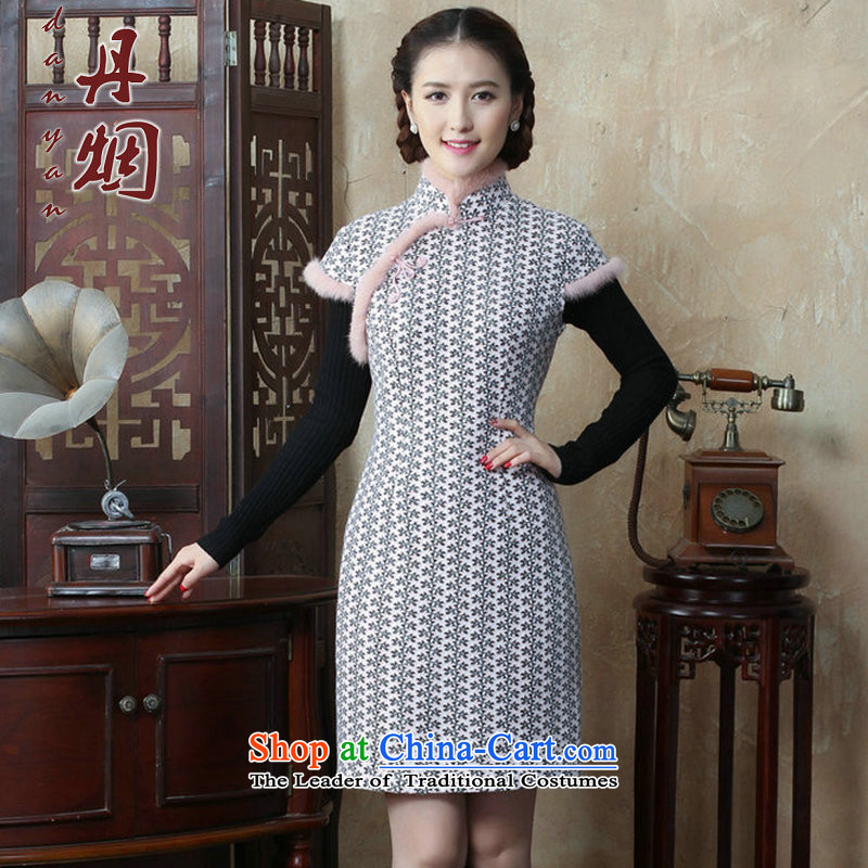 Dan�15 autumn and winter smoke women's gross for improved wool? qipao Sau San Chinese collar cotton short skirt qipao folder as shown in figure�L color