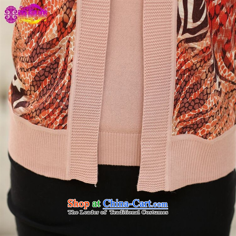 Orange Tysan *2015 older autumn new for women really two pieces of knitted shirt middle-aged moms with large long-sleeved jacket embossed green聽110,A.J.BB,,, shopping on the Internet