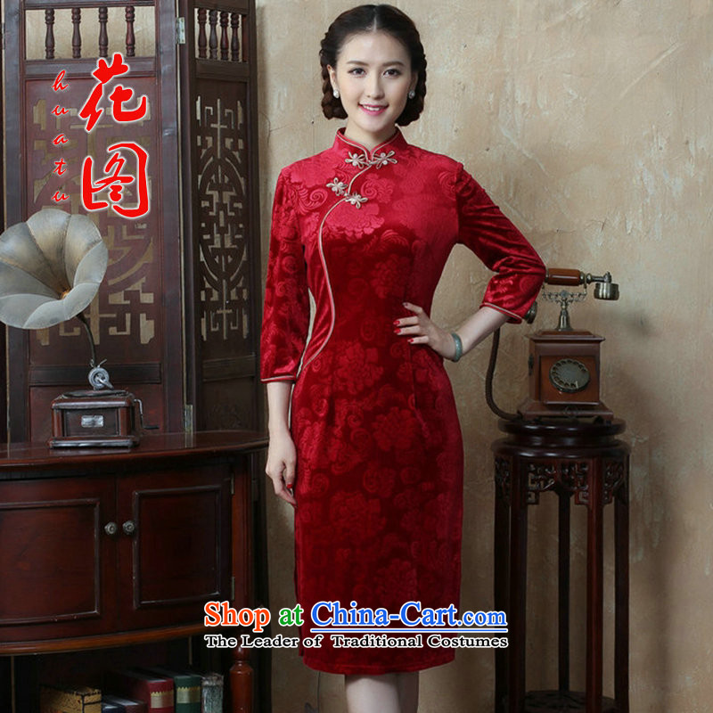 Floral autumn and winter new Chinese women's Mock-neck 7 cuff scouring pads qipao Sau San improvement long cheongsam dress figure color燤