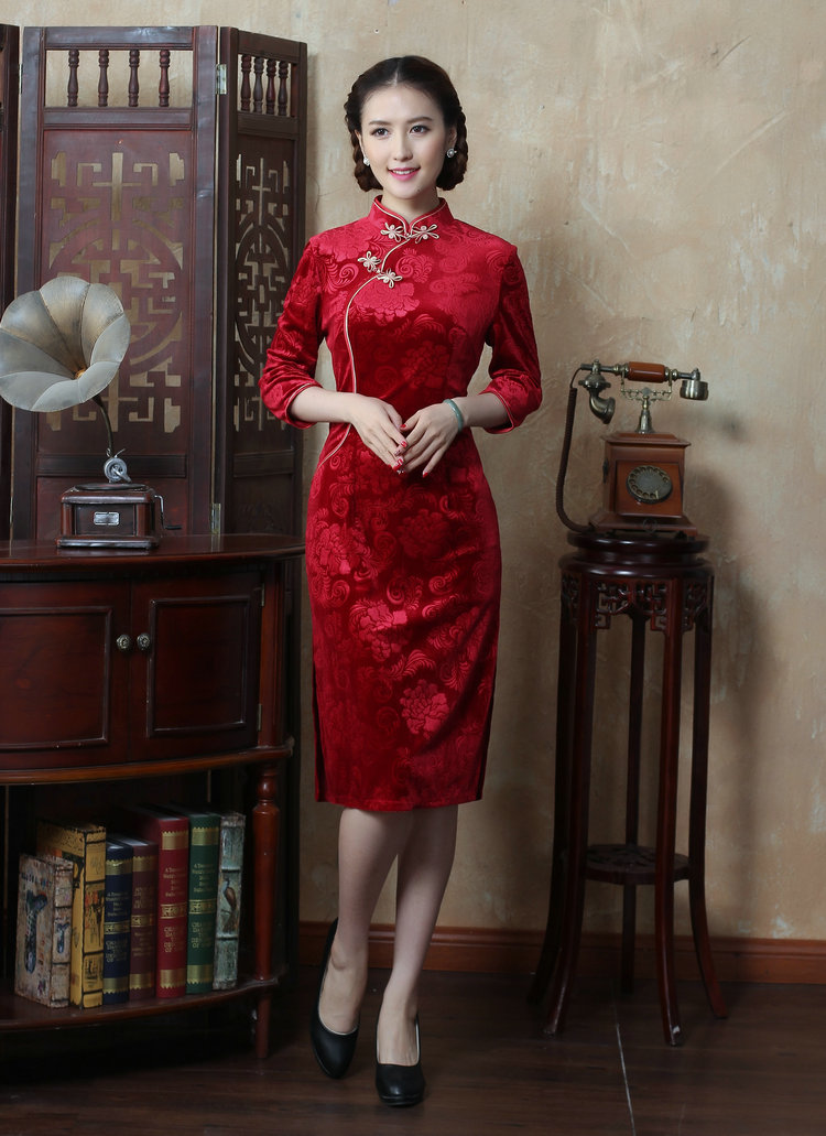 Dan smoke autumn and winter new Chinese women's Mock-neck 7 cuff scouring pads qipao Sau San improvement long cheongsam dress figure color聽M brand, prices, picture platters! The elections are supplied in the national character of distribution, so action, buy now enjoy more preferential! As soon as possible.