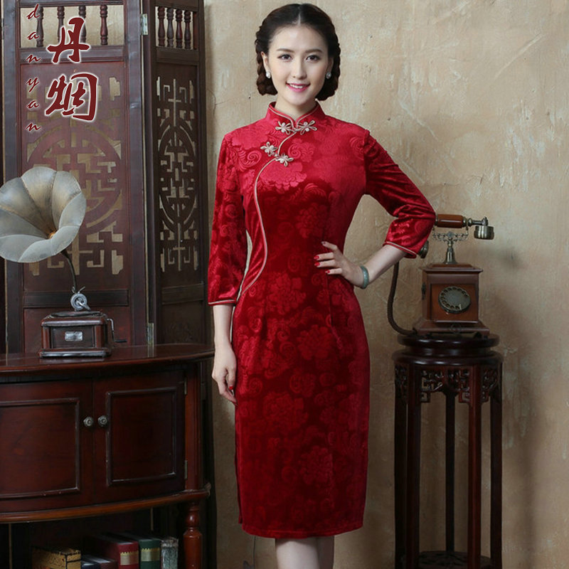 Dan smoke autumn and winter new Chinese women's Mock-neck 7 cuff scouring pads qipao Sau San improvement long cheongsam dress figure color聽M