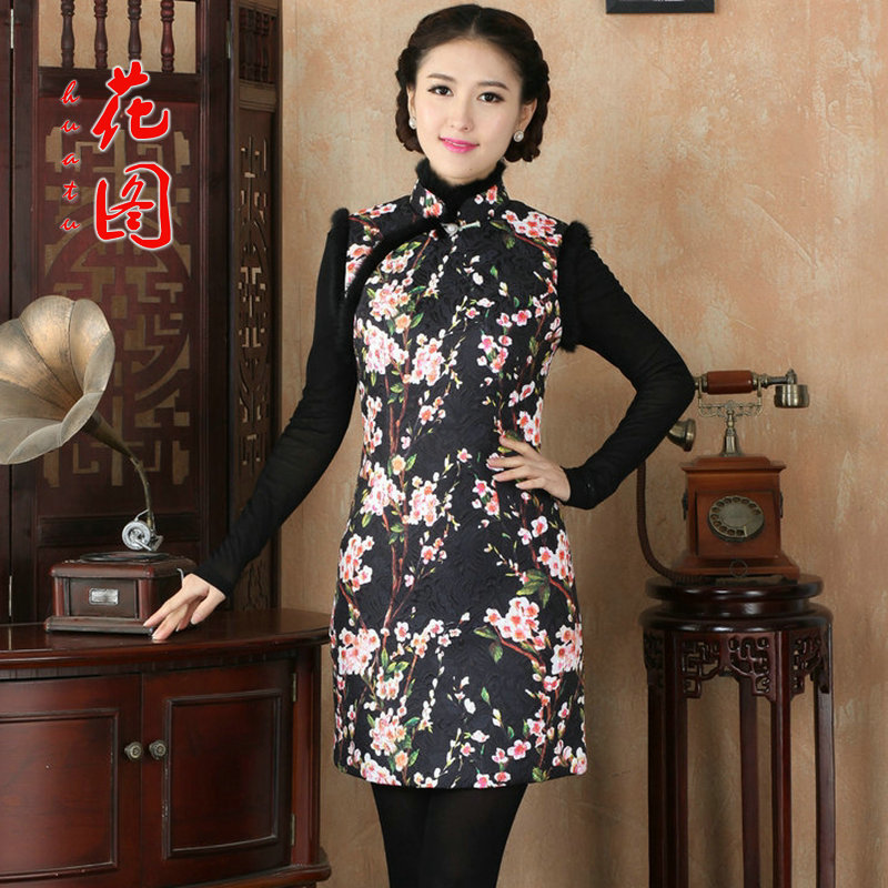 Figure�15 autumn and winter flower women's gross stamp folder for Chinese qipao COTTON SHORT qipao retro Sau San dresses Figure�L color
