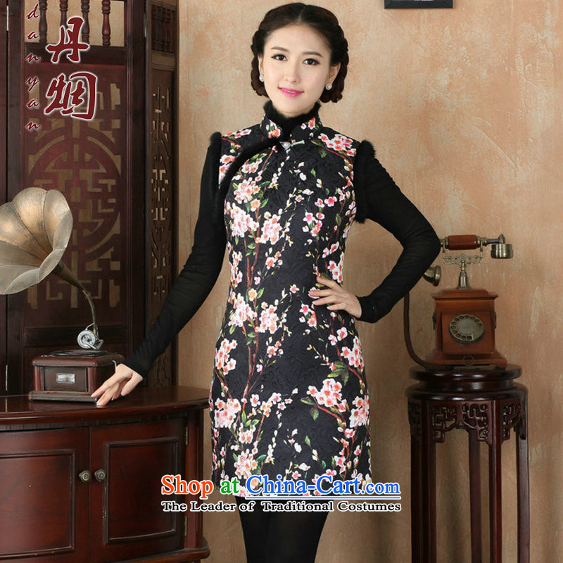 Dan聽2015 autumn and winter smoke women's gross stamp folder for Chinese qipao COTTON SHORT qipao retro Sau San dresses聽3XL Figure Color