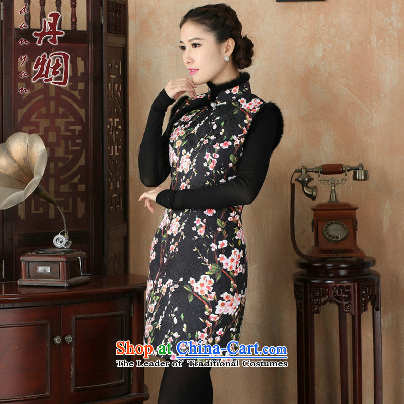 Dan聽2015 autumn and winter smoke women's gross stamp folder for Chinese qipao COTTON SHORT qipao retro Sau San dresses Figure Color聽3XL, Dan Smoke , , , shopping on the Internet
