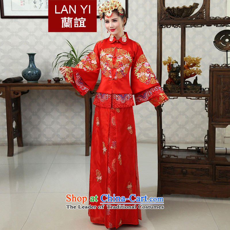 Sau Yi Ho Wo Service bridal dresses Chinese wedding dress 2015 new winter red bows wedding dress qipao Soo kimono red retro L code waist 2.1 foot