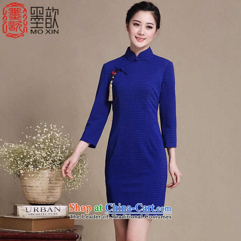 The blue?long-sleeved 2015 Xuan 歆 qipao fall inside the new stylish retro ethnic improved cheongsam dress in long skirt?Y3199 qipao?Blue?M