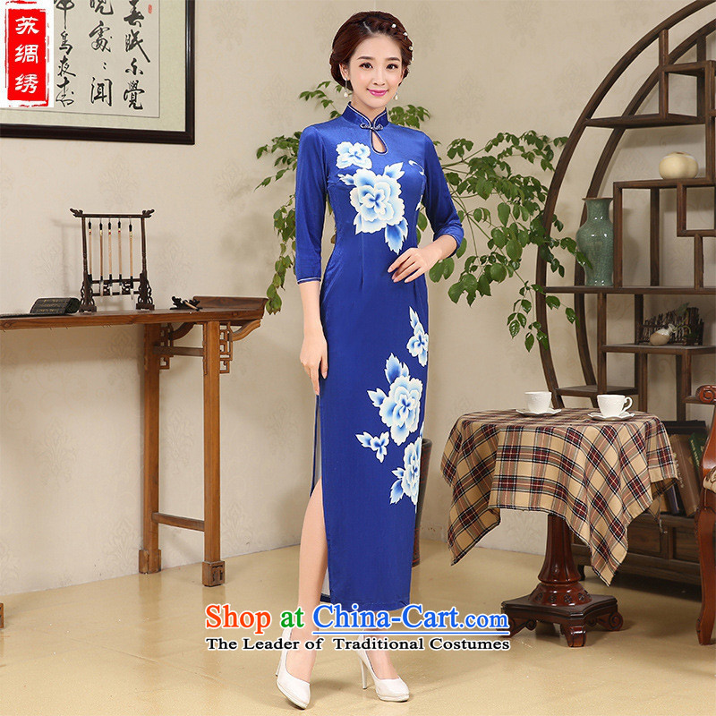 Mano-hwan's long qipao 2015 autumn and winter blue velvet curtains of new mothers with skirt cheongsam dress photo color燤
