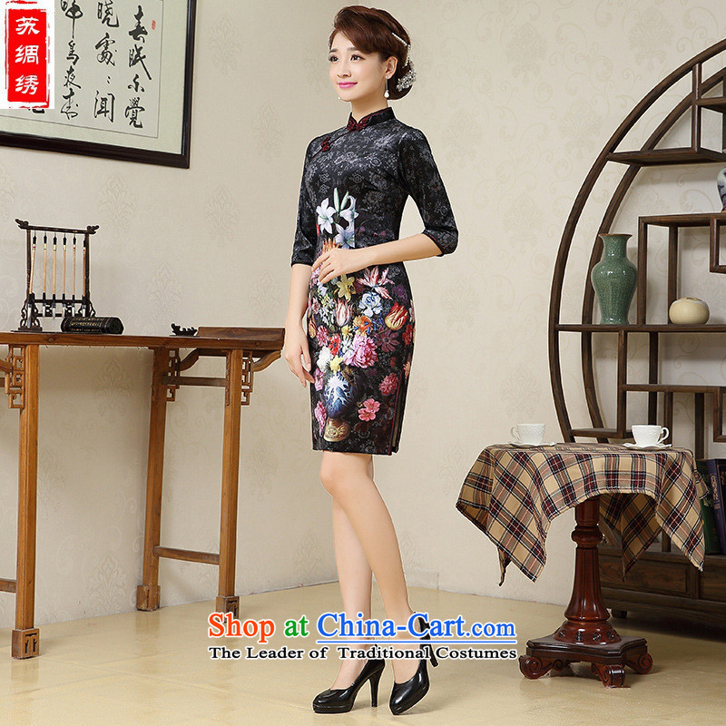 Mano-hwan's 2015 winter new qipao scouring pads, long-sleeved cheongsam dress upscale improved color picture qipao?L