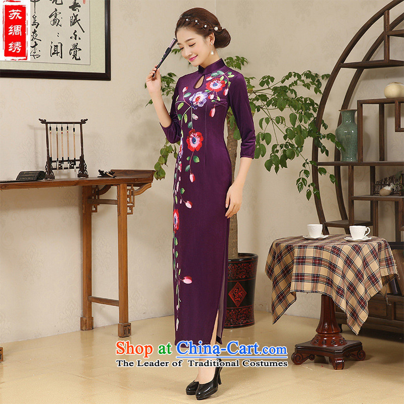 Mano-hwan's long qipao 2015 autumn and winter new plush retro embroidery cheongsam dress MOM pack direct picture color燤