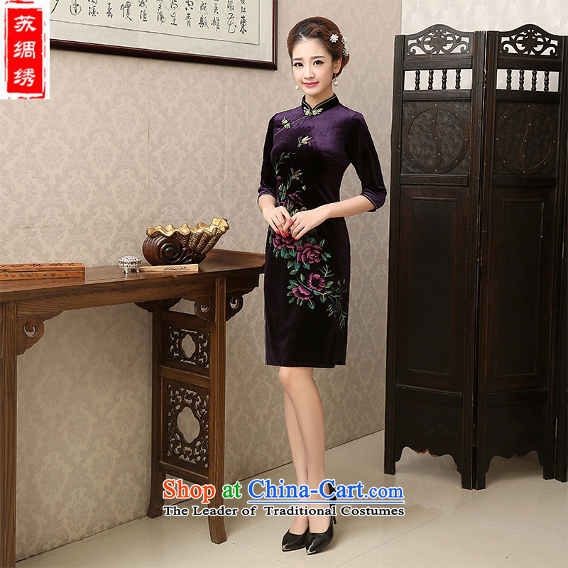 Mano-hwan's new 2015 qipao scouring pads of autumn and winter dresses retro improved upmarket long-sleeved temperament, Red燲XL