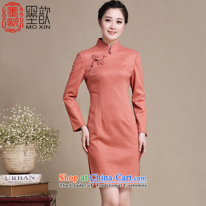 The cross-link a�long-sleeved 2015 ? cheongsam dress new stylish retro hair fall replacing light qipao? temperament improved Sau San cheongsam dress Y3220 ORANGE�XXL