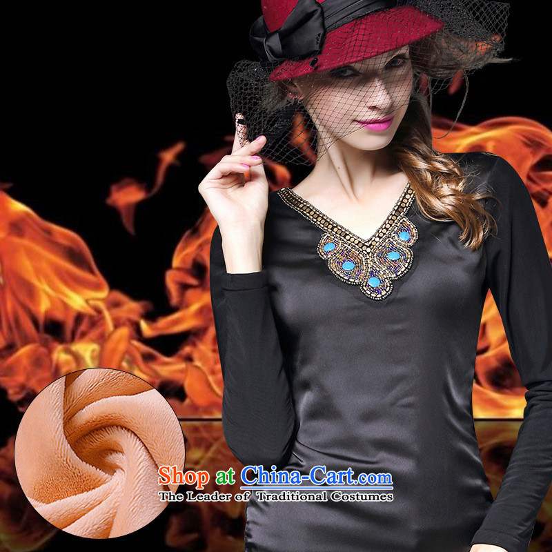 The Black Butterfly winter), forming the new European and American women, lint-free t-shirt with round collar and who are lint-free thick solid color T-shirt long-sleeved shirt Black?XL Coated