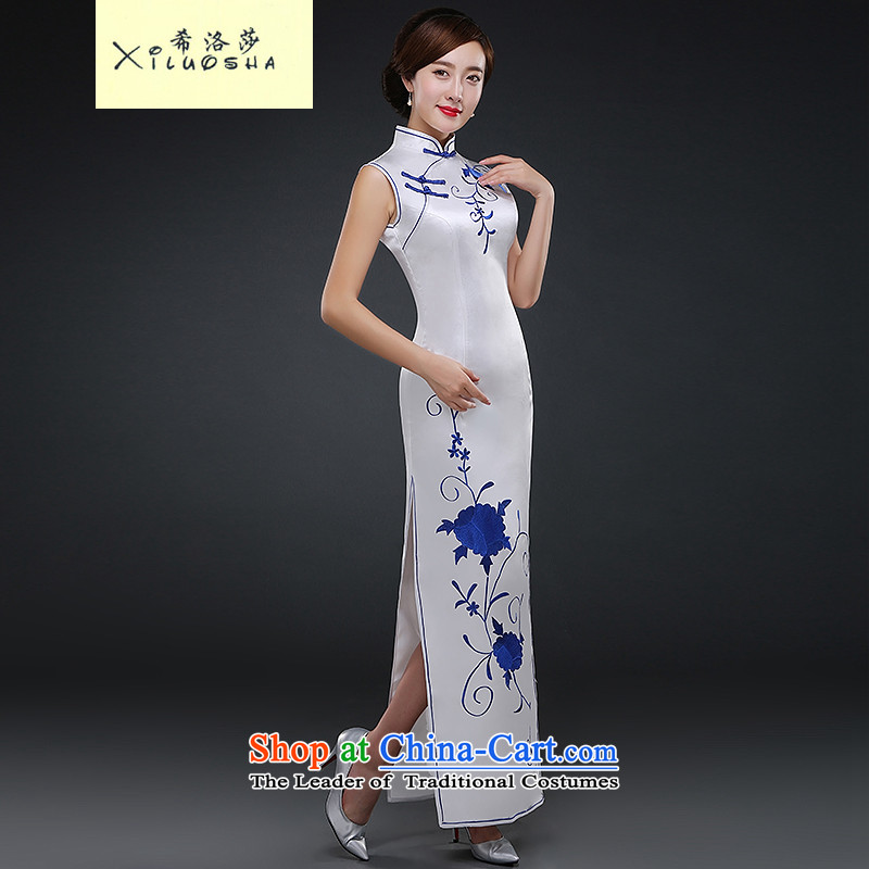 Hillo XILUOSHA_ Lisa _Republic of Korea wind qipao autumn porcelain qipao female etiquette qipao long stage performances by 2015 new autumn embroidery White燤