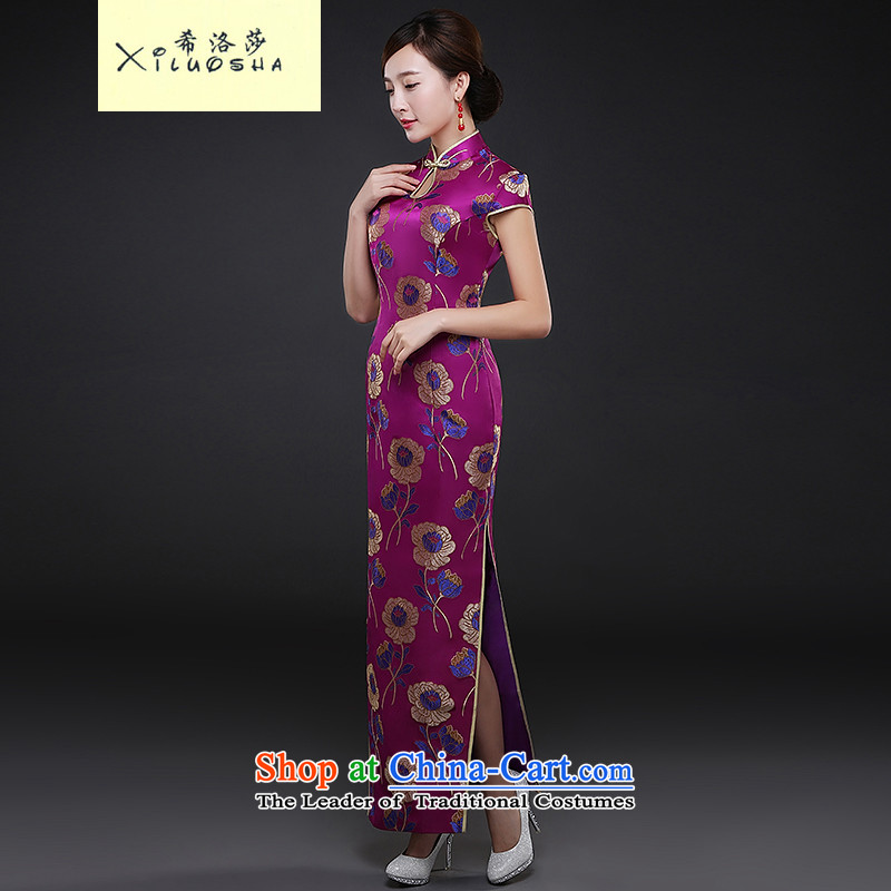 Hillo XILUOSHA_2015 Lisa _autumn and winter new cheongsam dress improved Stylish retro look of the forklift truck load of bride services show bows show purple聽L