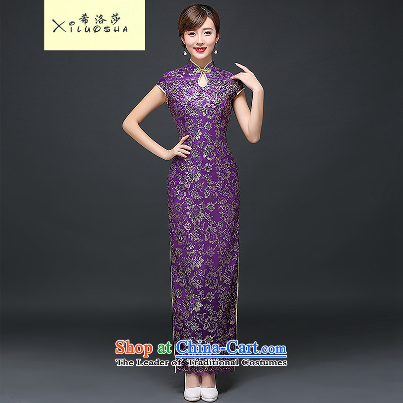 Hillo XILUOSHA)2015 Lisa (new retro cheongsam long qipao autumn ritual of Sau San Chinese cheongsam dress brides mother bows to purple?L