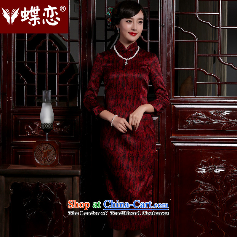 The Butterfly Lovers 2015 autumn and winter new retro long Sau San cheongsam dress stylish Silk Cheongsam daily improved dark red�L