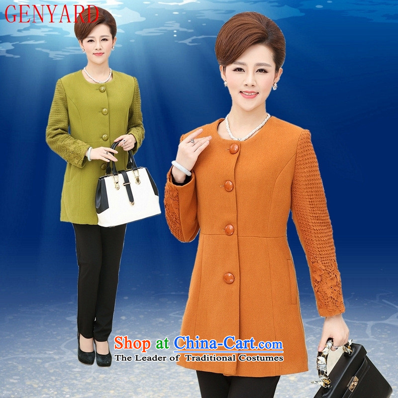 In the number of older women's GENYARD autumn boxed long-sleeved mother in long wool a wool coat Europe a wool coat?5XL No. 1 Color