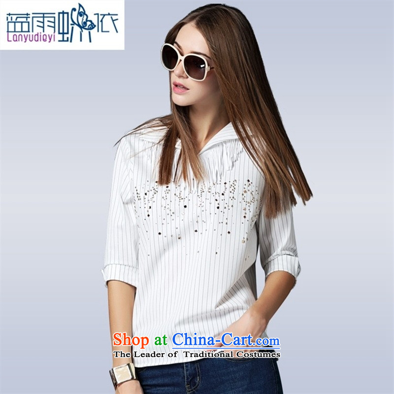 The main European 2015 Autumn, site blouses lapel pinstripe ironing drill trend T-shirt VA87697 female white燬