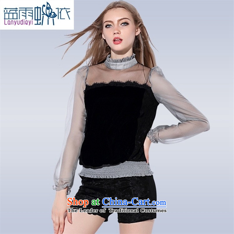 The main European station 2015 Women's autumn and winter new western style scouring pads wear T-shirt�VA87691 stitching�Gray�L