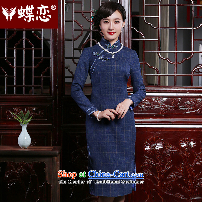 The Butterfly Lovers 2015 autumn and winter new retro long long-sleeved stylish daily improvement latticed cheongsam dress navy blue checkered - pre-sale for ten days燲L